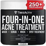 TreeActiv Four-in-One Acne Treatment | Exfoliating Sulfur Acne Face Wash | Bentonite Clay Face Mask & Spot Treatment | Pore Clarifying Facial Scrub for Adult, Teens, Women, & Men | 250+ Treatments