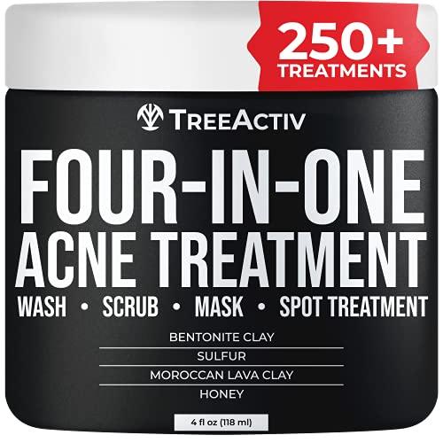 Treeactiv Cuatro en Uno acné tratamiento de lavado, Scrub, máscara, y Spot Tratamiento Cura...