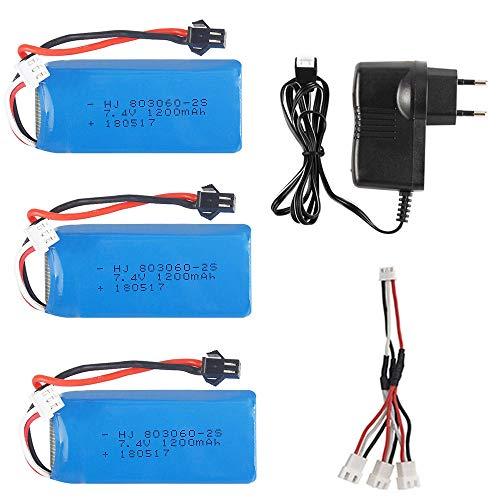 rpbll Batteria 7.4V 1200mAh 2S 30C Lipo con Caricatore USB per H26 H26C H26W H26D H26HW RC Quadcopter Drone Batteria 7.4V per Giocattoli H26-012-3B EU C
