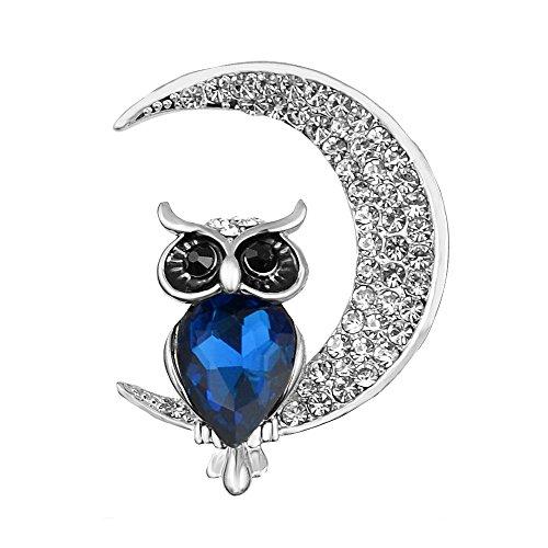 Isijie Jewelry - Broche de bho para Mujer, Chapado en Plata con Cristales y circonitas