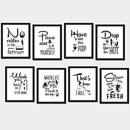 """8X Bathroom Art Picture Quotes Wall Décor Accessories Laminated and Flat Pack (Each Measures 10"""" X 8"""")"""