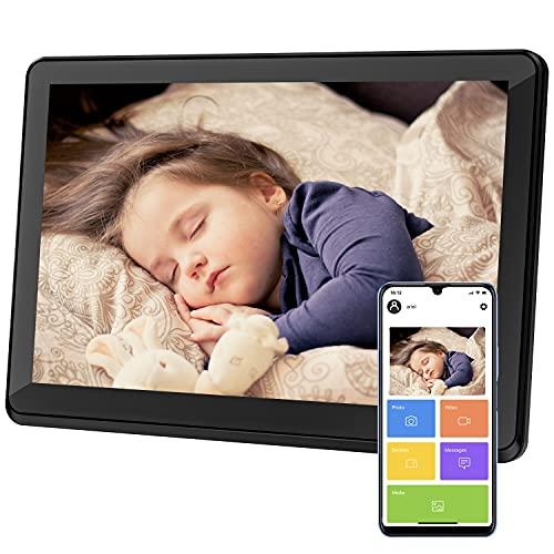Digitaler Bilderrahmen WiFi 10 Zoll IPS-Touchscreen, 1080P Smart Fotorahmen mit 16 GB Speicher, Fotos und Videos sofort per APP teilen, Auto Drehung, Porträte oder Landscape Modus