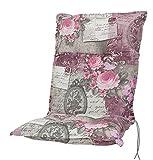 Kettler Polen KETTtex 0798 Auflage Niederlehner Rom rosa-grau Blumen Landhaus 103x50x9 cm Sitzpolster