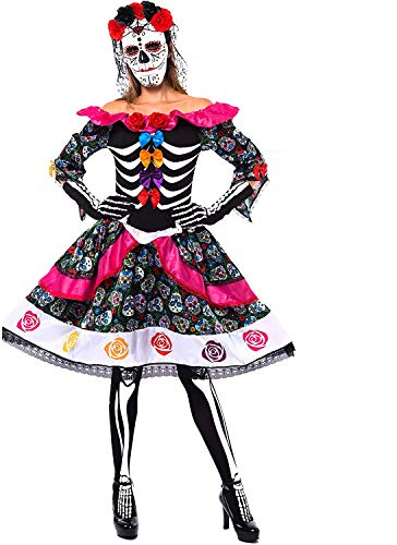 Spooktacular Creations Women's Day of The Dead Spanish Costume Set for Halloween Lady Dress Up Party, Dia de Los Muertos (Large) Black
