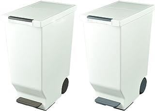 日本製 ダストボックス 平和工業 スライドペダルペール 45L 2個セット ゴミ箱 ごみ箱 おしゃれ (ブラウン×ブラック(グレーに近い色味))
