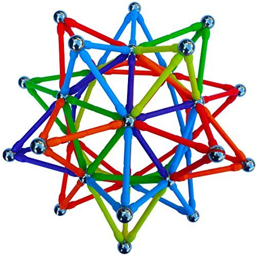 """Magz Super 300 Magnetic Building Set consisting of 176 magnetized rods (2.3"""" Long) and 124 Nickel Plated Steel Balls (0.5"""" in Diameter) in a Wooden Box, Offered"""