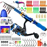 Kilitn Kids Fishing Rod, 1.5M 61Inch 4.92Ft Portable Telescopic Fishing Pole and Reel Combos and String with Fishing Line Full Kits, Youth Fishing Pole Fishing Gear for Kids, Boys, Girls, and Adults