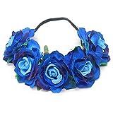 Tweal Rose Fleur Bandeau Couronne,Bandeau Cheveux Femme Mariage,Bandeau Cheveux Fille pour Fête Mariage Voyage(Bleu)