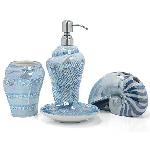 PEHOST Badezimmer Accessoires Set Keramik mittelmeer Schnecke Blau Weihnachten,WC-Garnitur Badaccessoires,4-teilig,1 Zahnbürstenhalter,1 Seifenspender,1 Seifenschale,1 Zahnputzbecher