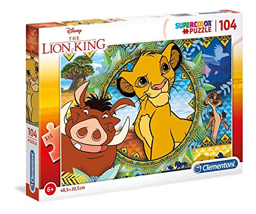 Clementoni- Supercolor Puzzle-Lion King-104 Pezzi, Multicolore, 27287