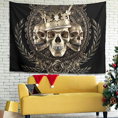 FFanClassic Tapiz de pared con diseño de calavera, manta de picnic para cortina blanca 149,9 x 129,5 cm