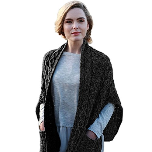 Celtic Clothing Wool Wrap For Women, 100% Irish Wool, Made In Ireland, Black, One Size Fits All