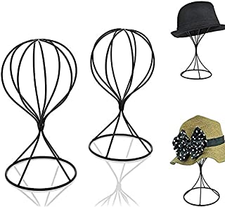 Mydio 2 Pieces Modern Metal Hat Stands Durable Stable Metal Hat Cap Rack Wigs Holder,Black Metal