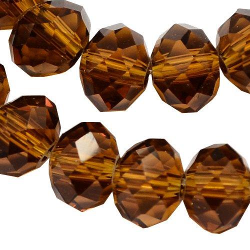 Tschechische Kristall Glas Perlen CZ Böhmische Facettierte Rondelle Glasperlen 4/6/8/10 mm Farbauswahl (Braun, 6x4 mm)