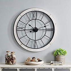 FirsTime & Co. Timeworn Cottage Wall Clock, 27, Whitewash, Aged Black