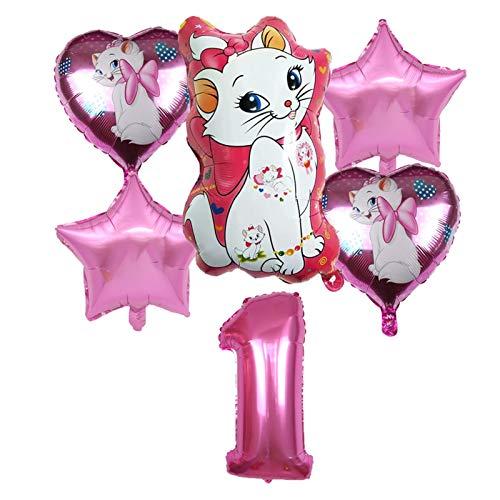 JSJJAET Globo 6 unids Marie Cat Theme Aluminio Globo Set Love Shape Balloon Fiesta de cumpleaños Decoración Fiesta Fiesta (Color : 1)