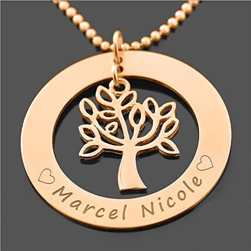 Namenskette Lebensbaum rosegold 925 Silber mit Gravur Namensgravur ❤️ Gravurschmuck Namensschmuck Koordinaten ❤️ Baum Anhänger Kugelkette | HANDMADE IN GERMANY