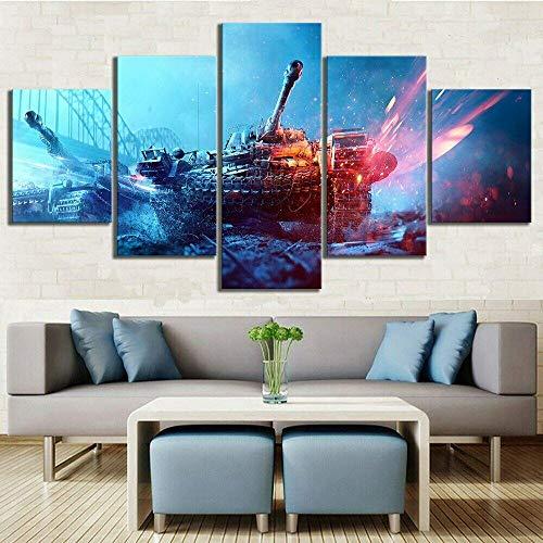 ZPDWT Painting 5 Piezas Cuadro Cuadros LienzoTanque Militar del Mundo de la Guerra del ejército Modernos Impresión de Imagen Artística Digitalizada Lienzo Decorativo para Salón o Dormitorio 150x80cm