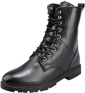 Bottines Homme Cuir Mode Pas Cher Grand Taille Boots à Talon Plates Chelsea Bottes Hautes Automne Hiver Vintage Lacets Cha...