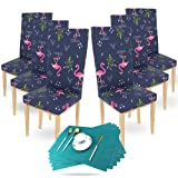 Kraftales Dining Chair Covers Set of 6 - Stretchable Covers with Table mat Set.