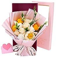 ソープフラワー 花束ギフト バラ カーネーション シャクヤク フラワー 誕生日プレゼント 結婚記念日 女性 人気プレゼント 母の日 先生の日 敬老の日 造花 カード付き ボックス入り(シャンパン)