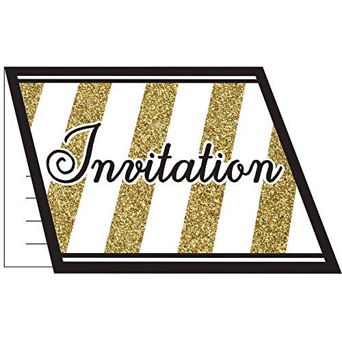 8 CARTONS INVITATIONS NOIR ET OR 10 X 12 CM