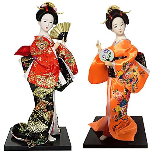 KJWXSGMM 12 '' / 31 cm Japonés Vintage Kimono Girls Geisha Doll Figurine Maiko Handcraft Figurine Home Desktop Decoration Regalos 2pcs,B