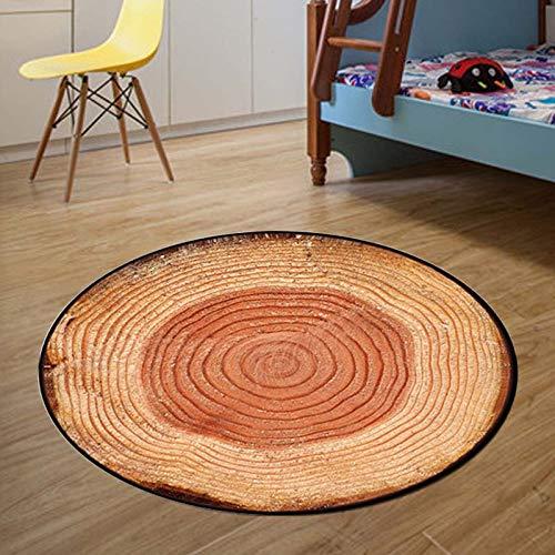 Rond tapijt, motief boomstam van de persoonlijkheid, textuurdruk, rond, kunsttapijt, antislip, zachte pad binnen, comfortabel, vloermat voor woonkamer, eetkamer, salontafel, slaapkamer diameter 180cm/5.9 ft
