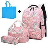 Girls School Backpacks Set Cute Unicorn Backpack with Lunch Box Pencil Case Kids Bookbag School Bags for Girls Elementary Students Schoolbag 3 in 1 Sets