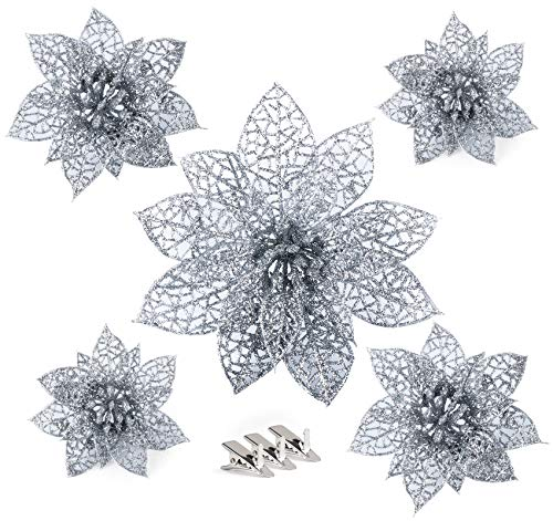 Anstore 30 Stück Glitter Poinsettia Künstliche Weihnachten Blumen Dekor Ornament für Weihnachtskranz Weihnachtsbaum Ornaments in 3 Größen, Silber