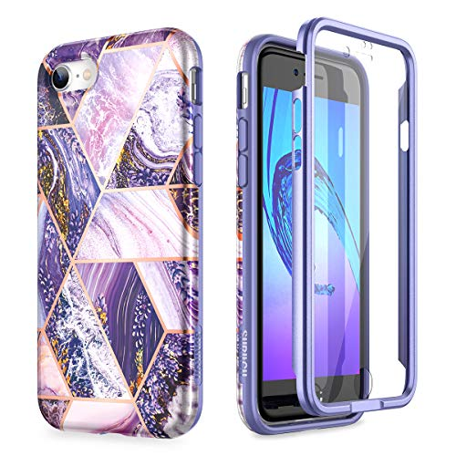 SURITCH for iPhone SE 2020 Case iPhone 7 Case iPhone 8 Cover 360 Protection Silicone Back Cover with Built in Screen Protector Slim Thin Bumper Shockproof iPhone SE 2020/7/8 Case(Purple)