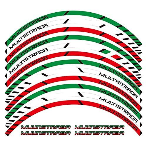 bazutiwns Un Conjunto de calcomanías de Rueda de Motocicleta de 12 Unids Impermeable Reflexivo Pegatinas Rápes de Rim para Ducati Multistrada 1260 1200 HSLL (Color : A)