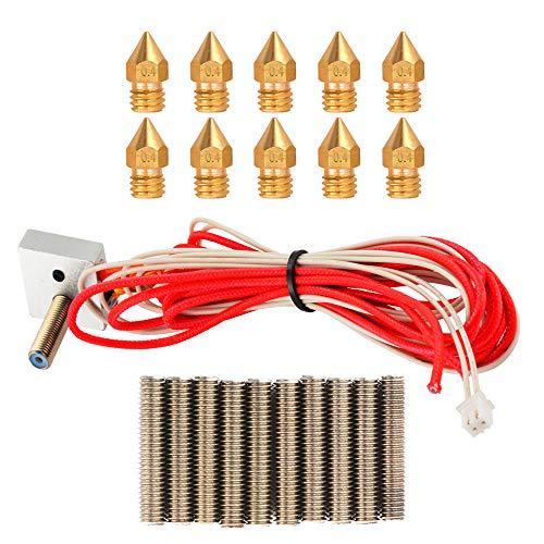3D Printer MK8 Parts Accessory DIY Hot End Assembled Extruder Kits 1,75 mm Filament 0,4 mm Nozzle met extra nozzles en extruder tubes
