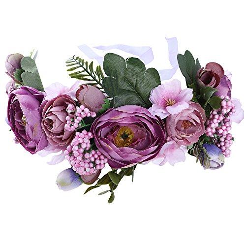 AWAYTR Blumen Stirnband Hochzeit Haarkranz Krone - Frauen Mädchen Blumenkranz Haare für Hochzeit Party(Lila + Rosa)