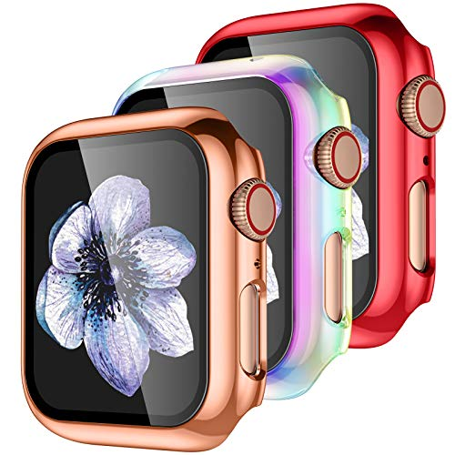 【3 Pack】 Easuny Design for Apple Watch Case 40mm Series 6 SE 5 4 with Built-in Glass Screen Protector - Overall Protective Hard Cover Accessories for iWatch Women Men,Rose-Gold Red Colorful