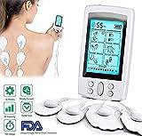 TENS Elektrostimulator gegen Schmerzen und Elektrostimulation der Muskulatur EMS – Reha, Linderung von Schmerzen, Massage, Kinesiologie Pflege – 16 Massageprogramme + 8 Elektroden -