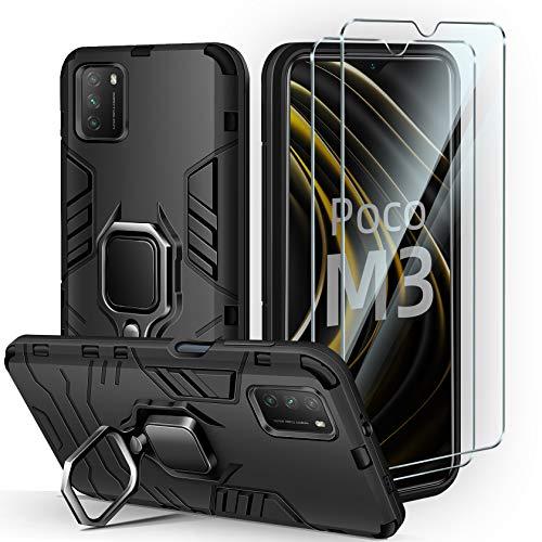 AROYI Funda Compatible con Xiaomi Poco M3 y 2 Piezas Protector Pantalla Cristal Templado, Suave Armadura híbrida Robusta Soporte Magnético Plegable Anti-arañazos Bumper Case - Negro