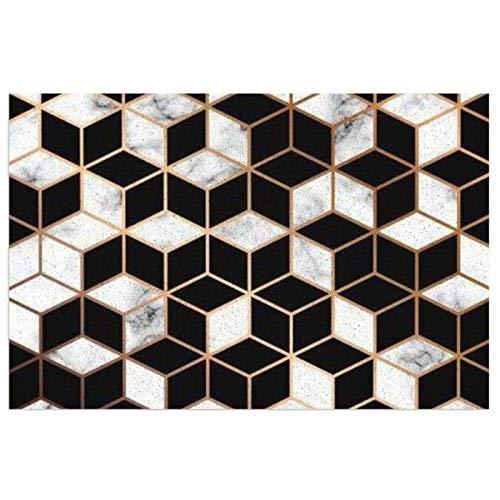 Moderno felpudo de líneas doradas con superficie de mármol, geométrica, color negro y blanco con respaldo de PVC resistente para uso en interiores y exteriores