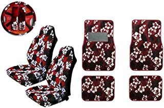 2 Hawaiian Hibiscus Seat Cover Wheel Cover Set and Floor Mats Set - Hawaii Red