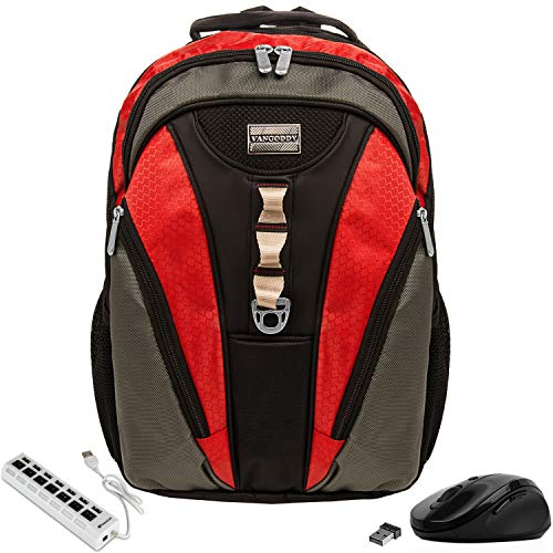 VanGoddy Rivo Rugged Anti-Theft Laptop Backpack w/Wireless Mouse and USB HUB for Fujitsu LifeBook and Stylistic Series Laptops 11' -...