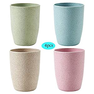 Unbreakable Cups Wheat Straw Tumbler,Non Toxic & Reusable BPA Free Water Glasses Eco Friendly Cups for Drinking Tea Coffee, Non-slip Bathroom Cup Tooth Cups, 4 Pack 300ML