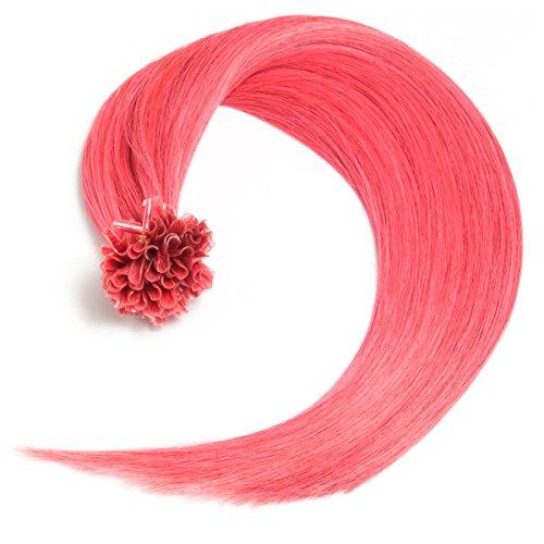 Pinke Bonding Extensions U-Tip aus 100% Remy Echthaar - 25 x 0,5g 60cm Glatte Strähnen - Glatte Haare mit Keratin Bondings für Haarverlängerung und Haarverdichtung in pink