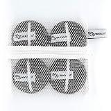 WowBeauties Almohadillas exfoliantes para el cuidado de la piel, limpieza facial y desmaquillante (4 unidades, incluye bolsa de lavandería, lavables, reutilizables, duraderas), color gris