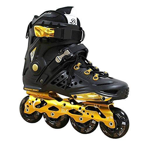 Kingdom GB DLF Dynamic Wind - Patines en línea de Freestyle, velocidad y slalom, Hombre, negro y dorado, 40