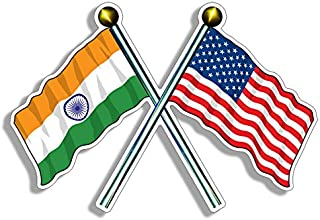 USA and India Waving Flag on Poles Sticker (American Indian)