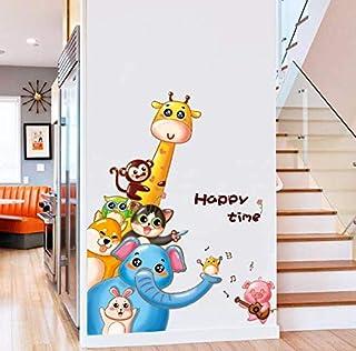Giraffe Monkey Owl Puppy Bunny Elephant Pvc Wall Stickers For Kids Rooms Baby Home Decor Cartoon Animals Decals-xx