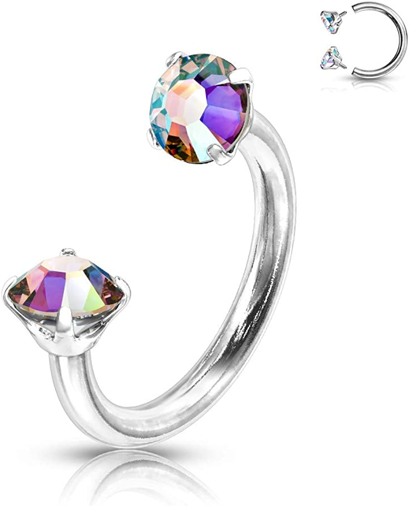 Amelia Fashion 16 Gauge Prong 70% OFF Outlet Set C Round CZ Max 59% OFF Internally Threaded