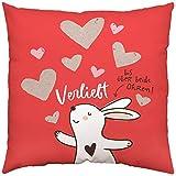 Happy Life 45336 Baumwoll-Kissen, mit Hase, Verliebt bis über beide Ohren, 40 cm x 40 cm Zierkissen, Hülle, Füllung 100% Polyester, Rot Weiß