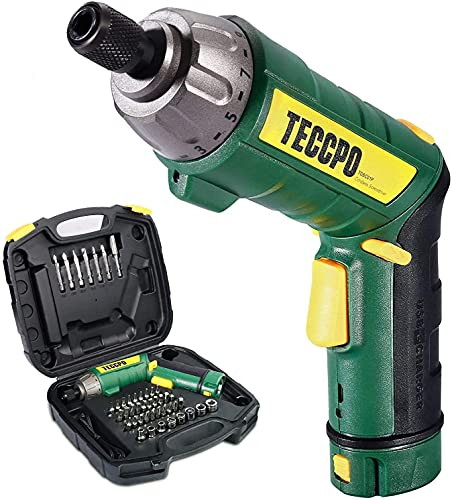 Electric Screwdriver, 45Pcs 6N.m, TECCPO Cordless Screwdriver, 4V 2000mAh Li-ion, 9+1 Torque Gears, Self-lock Chuck, 2 LED Lights, Adjustable 2 Position - TDSC01P