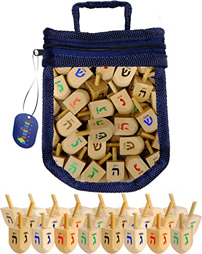 For Sale! Wood Dreidels Draydel Game with Instructions in Keepsake Draydel Shaped Bag (25-Pack)